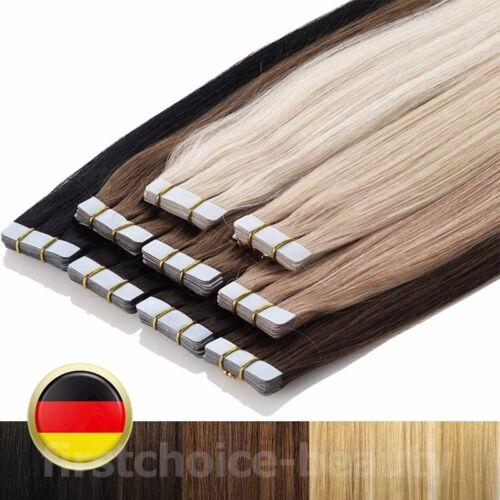 Glänzend Tape in 100% Remy Echthaar Extensions Haarteil Dick 20~60 Tressen Glatt