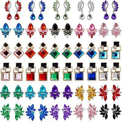 (Fashion Elegant Women Crystal Rhinestone Wing Flower Drop Dangle Stud Earrings)