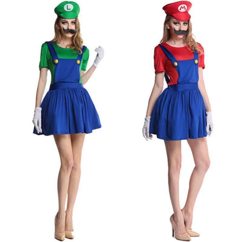 Erwachsene//Kinder Cosplay Super Mario Luigi Brothers Klempner Kostüm Karneval DE