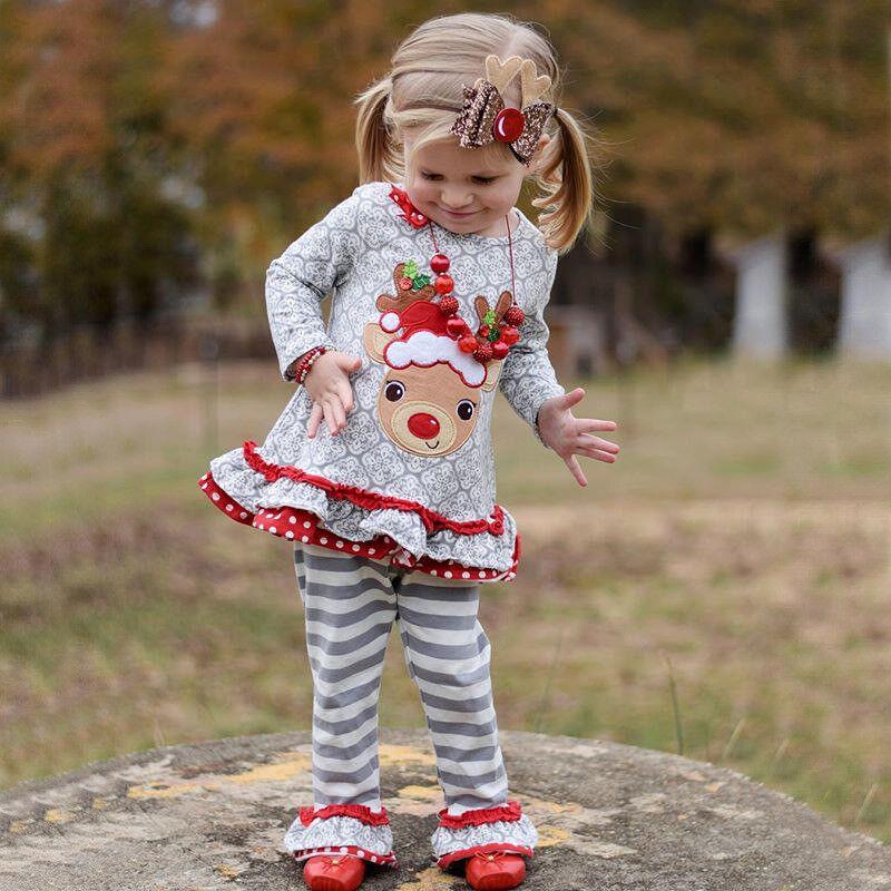 2pcs XMAS Set Kids Baby Boys Girls Outfits T-shirt Tops Leggings Pants Clothes