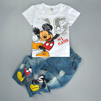 2PCS Kids Baby Boys Mickey Mouse Short Sleeve T-Shirt Tops + Jeans Pants Outfits - Mickey Mouse Outfit