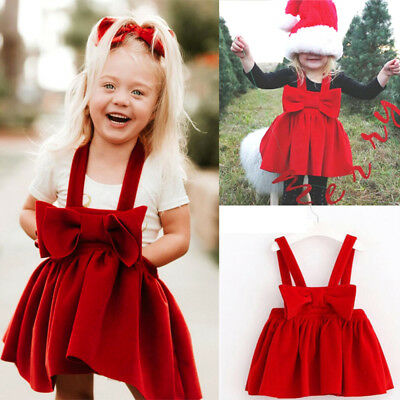 Christmas Toddler Kids Baby Girls Bow Princess Velvet Skirt Dress Clothes USA