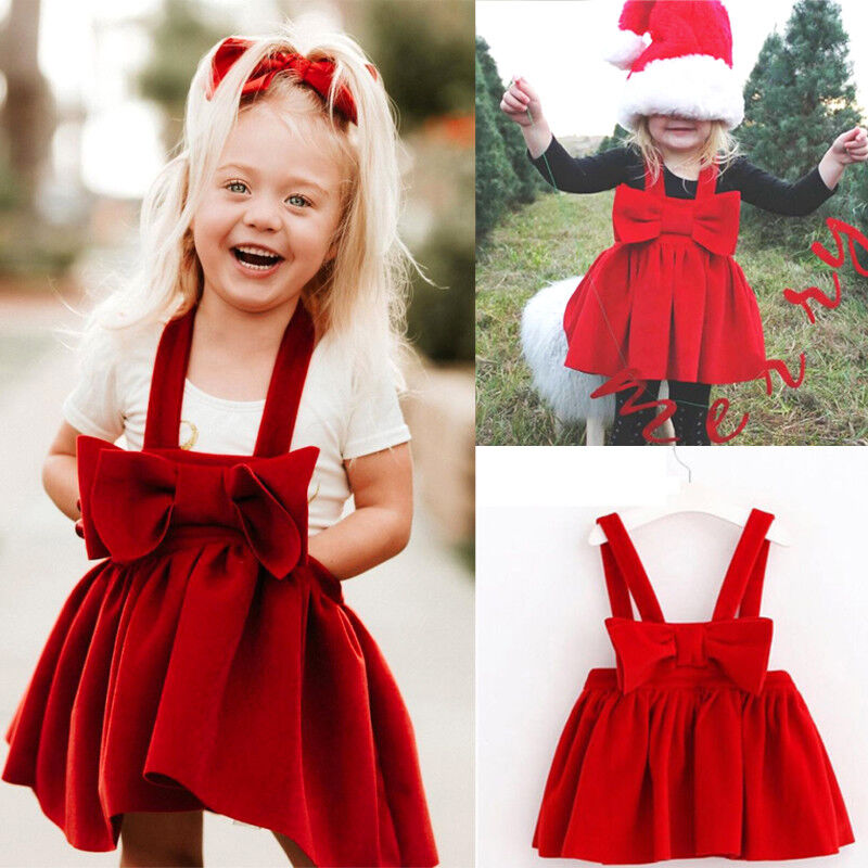 Christmas Toddler Kids Baby Girls Bow Princess Velvet Skirt Dress Clothes USA