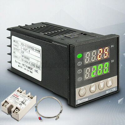 Digital Pid Temperature Controller 40a Ssr K Type Thermocouple Probe Sensor