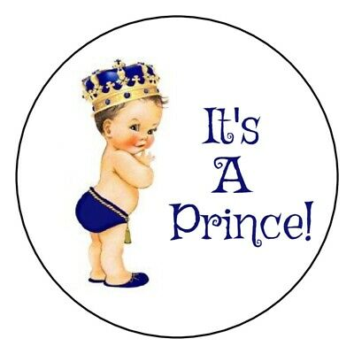 30 gold and blue It's a prince baby shower stickers boy royal crown party favors - Royal Baby Shower Favors