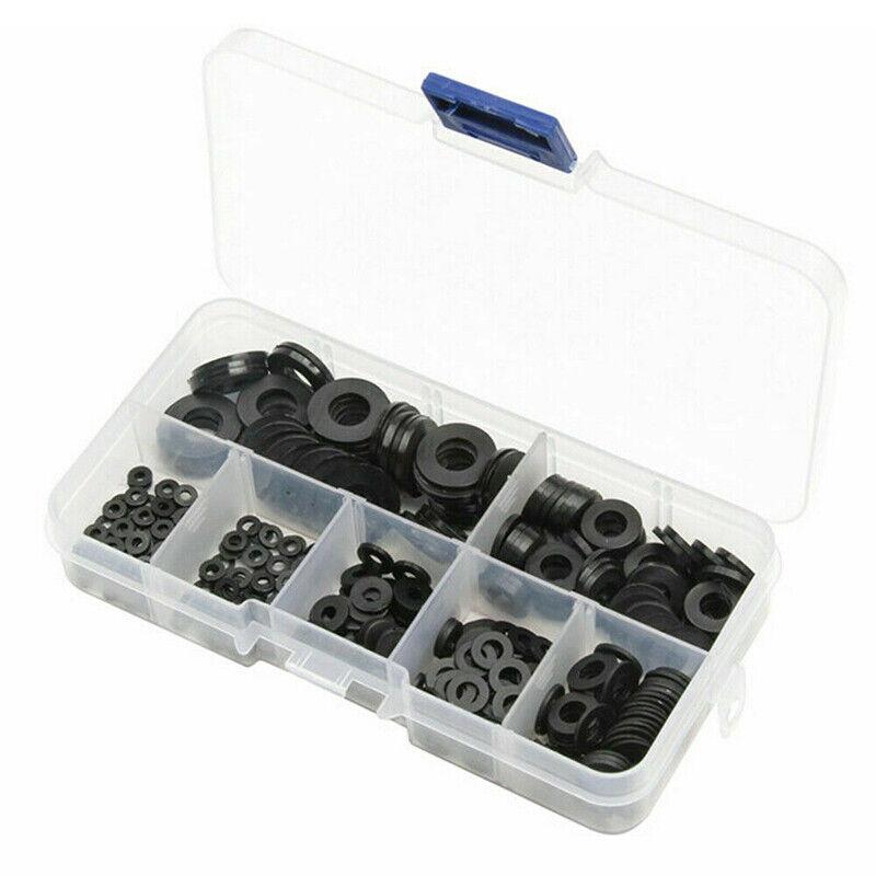 364Pcs Black Nylon Rubber Flat Ring Plain Repair Washer Gask