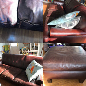 NEW PRICE Leather Couch and Chair