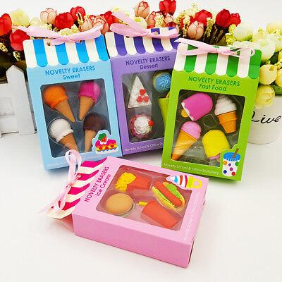 4pc Novelty Cute Ice Cream Cake Eraser Drink Coke Eraser Set Stationery Supplies - Ice Cream Supplies