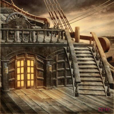 Vintage Wood Pirate Ship Vinyl Photo Background Backdrop Studio Props 5X7FT