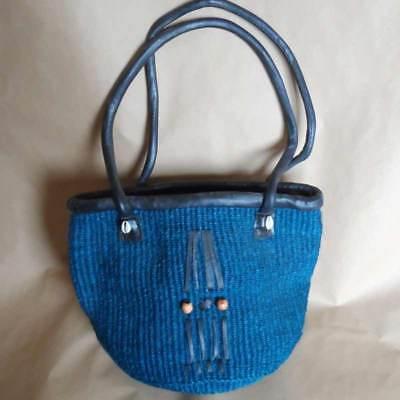 Kenyan handbag, kiondo in blue sisal colour