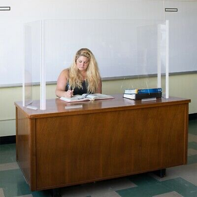 Clear Teacher Desk Partition Safety Shield With Adjustable Wrap Around Sides