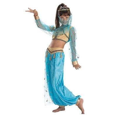 Girls Genie Costume Bollywood Girls Kids Blue Fancy Dress Belly Dancer Kids M L - Kids Genie Costume
