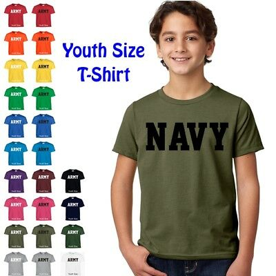 US NAVY Military PT Boys Girls Kids Child Children YOUTH FIT Tee T Shirt