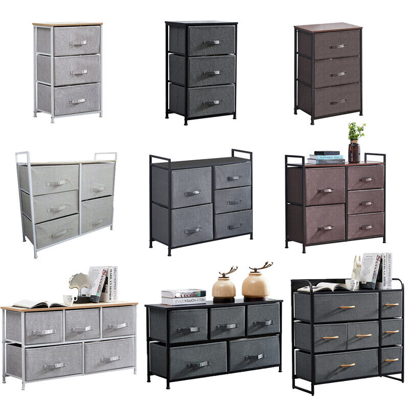 3/5/7 Drawers Storage Cabinet Display Table Dresser Organizer Furniture Gray New