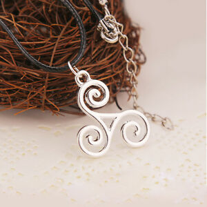 Allison Argent Silver Triskele Triskelion Teen Wolf Leather Pendant Necklace UK