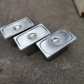Bain Marie Gastronorm Water Bath Food Warmer Pots / Pans + Lids
