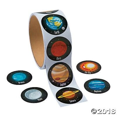Roll of 100 Space Planets Solar System Stickers Crafts Birthday Party Favors - Solar System Crafts
