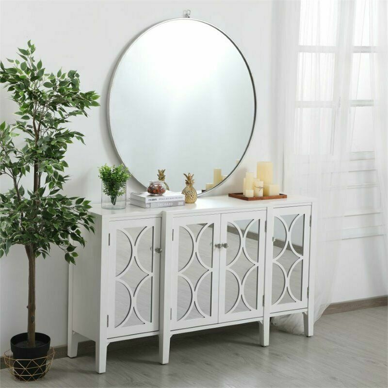 MIRRORED WHITE CABINET CREDENZA LIVING DINING ROOM BEDROOM ...