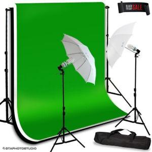 EQUIPMENT SALE Photo Video Umbrella Lighting Kit + Backdrop