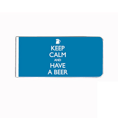 Metal Money Clip Bills Card Holder Rectangle Keep Calm and Have a Beer D 6 ()
