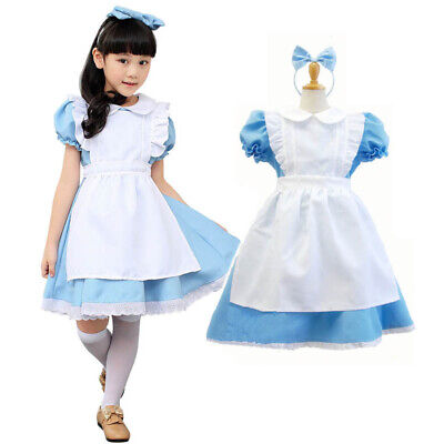 Alice in Wonderland Girl Fancy Dress Maid Lolita Costume Cosplay Outfits Set Kid](Child Maid Costume)