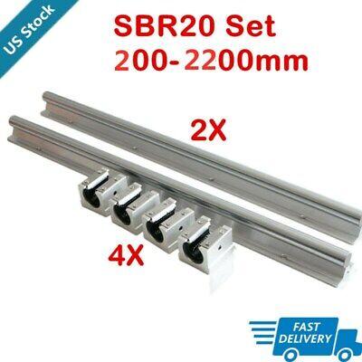 2x Sbr20 Linear Rail Guide Slide Shaft Rod 200-2200mm 4x Sbr20uu Block Us Stock
