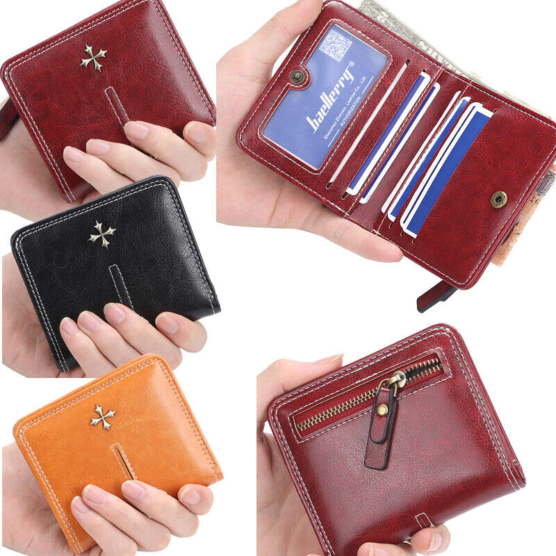 New Womens Small Bifold Leather Wallet Mini Zipper Coin Purse ID Card Pocket US Clothing, Shoes & Accessories
