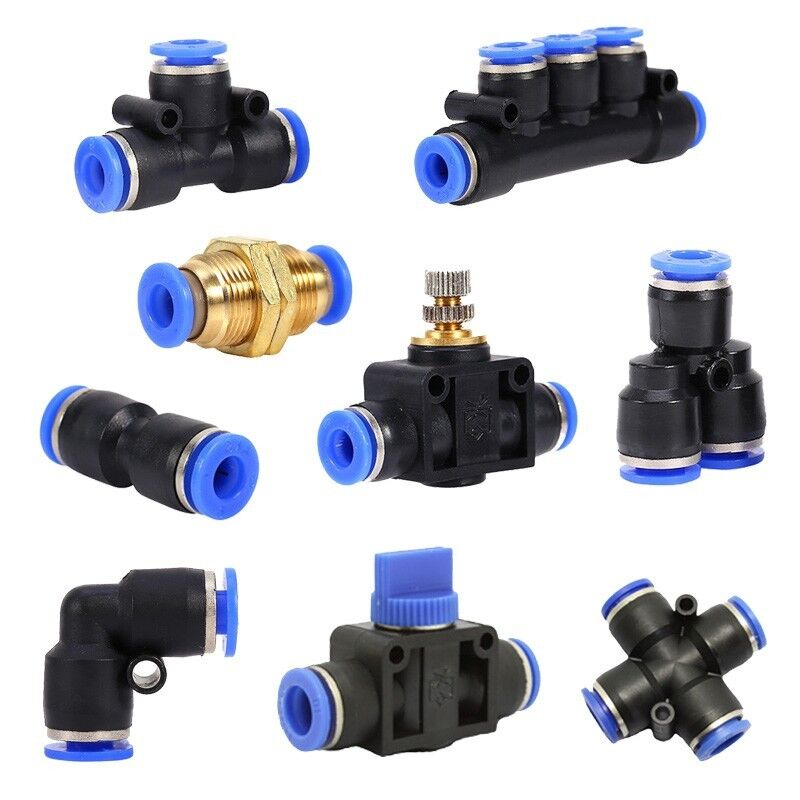 6 8 10 12mm Pneumatic Push In Fitting Air Valve Water Pipe Hose Joiner Connector