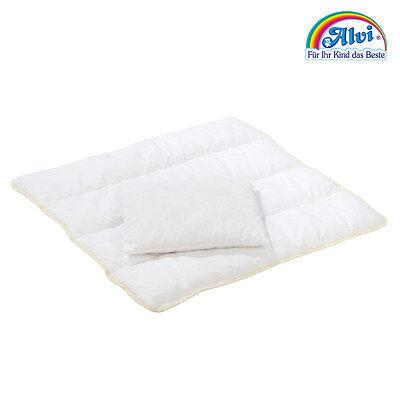 Alvi Baby Steppbett Set Thermovlies Decke + Kissen 80x80 cm (waschbar bis 60 °C)