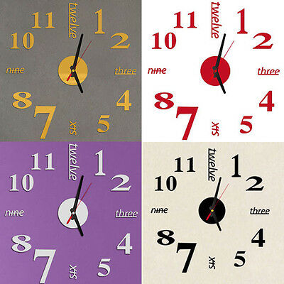 Mini Modern DIY Wall Clock 3D Sticker Design Home Office Room Decor Clockes