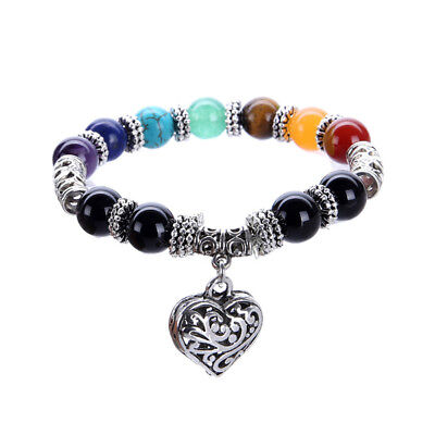 Bracelet Natural Jewelry Heart Lava Stone Beaded Healing 7 Chakra Yoga Gift 1PC