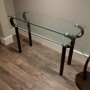 Glass Console Table with Brown Leather Legs