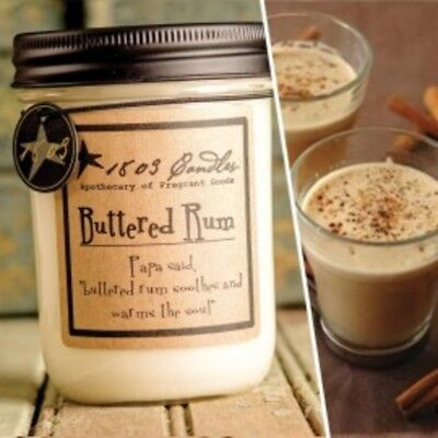 1803 Candles,  14 oz. Soy Jar Candle, Buttered Rum