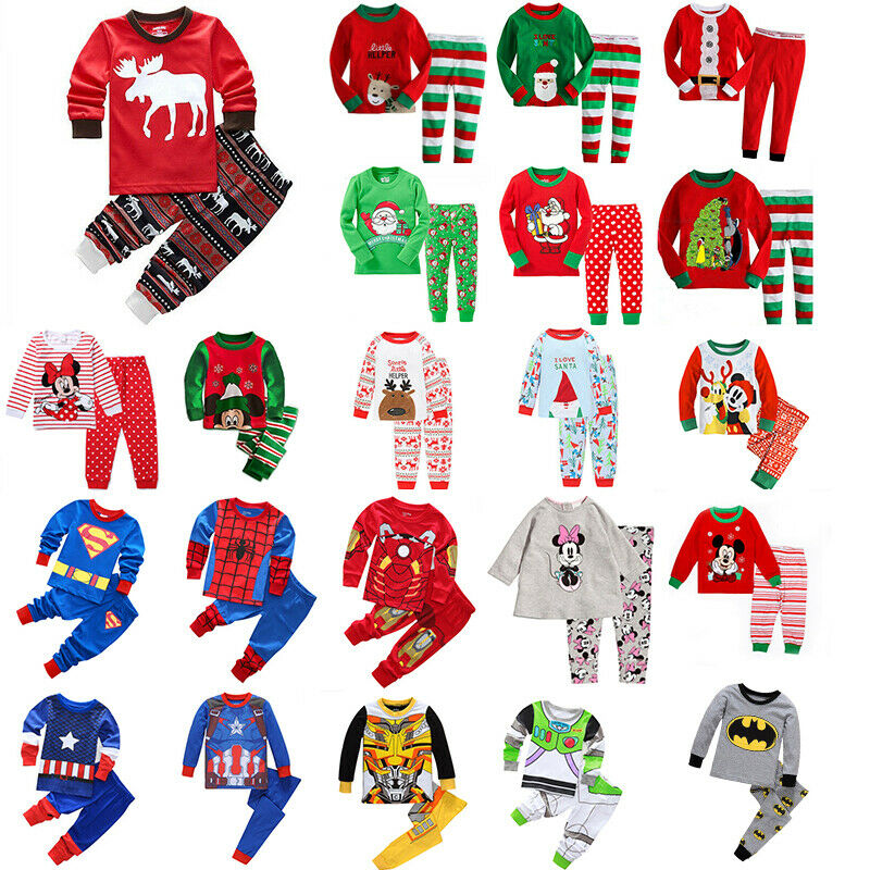 Bambino Ragazzi Natale Biancheria da Notte Supereroe T Shirt Pigiami Indumenti