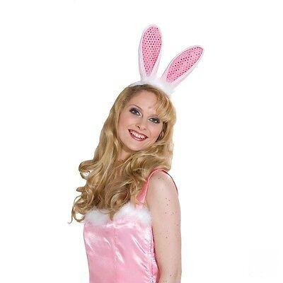 IAL Hase Haarreif Hasenohren Pink mit Pailetten Zubehör Hasenkostüm Bunny Ohren