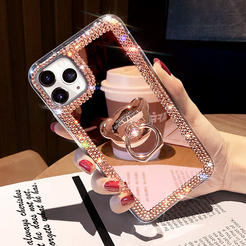 For iPhone 12 Pro Max 11 XS XR 6 7 8 Glitter Bling  Mirror Diamond Case w/ Ring