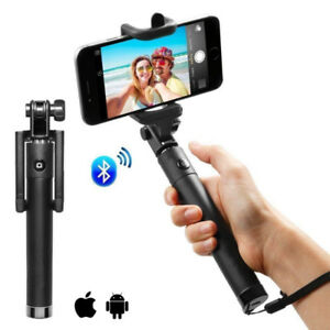 Selfie Stick Wireless Bluetooth Rotatable Head with Wrist Strip