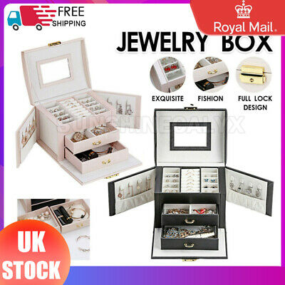 Large Jewellery Box Rings Necklaces Bracelets Watch Jewelry Storage Organiser
