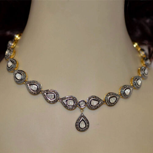 Victorian 11.99cts Real Rose Antique Cut Diamond Silver Wedding Necklace Jewelry