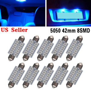 10X Blue 8-SMD LED Map /Dome Interior Lights Bulbs 42MM Festoon 578 211 212 5050
