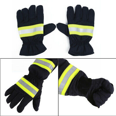 2x Canvas Fire Protective Gloves Fire Proof Heat Proof Flame-retardant Non-slip