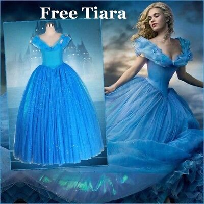 Adult Fancy Dress Costume Blue Costume outfit Party Cinderella Gown FREE Crown (Adult Cinderella Outfit)