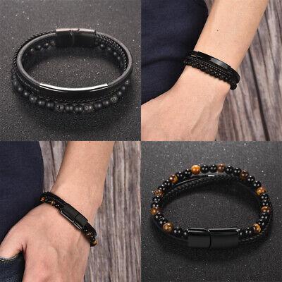 Mann Arm (Armband für echte Kerle Kunstleder Herrenarmband Männer Mann Stahl Schwarz Perle)