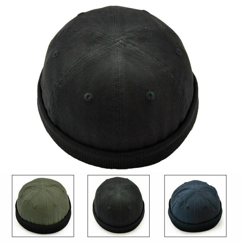 Retro Mens Hat Skull Cap Cotton Rolled Cuff Brimless Adjustable Painter Sailor