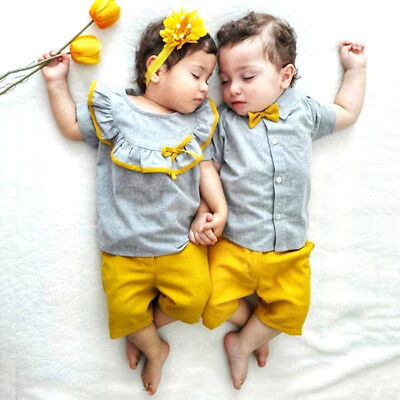 US Big/Little Sister Brother Matching Baby Girl Boy Tops Shorts Outfits Clothes - Little Girl Clothing