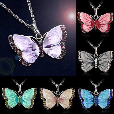 Jewellery - New Women Jewelry Enamel Butterfly Crystal Silver Pendant Necklace Fashion Chain