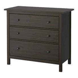IKEA HEMNES Chest of 3 drawers, black-brown