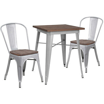 23.5 Square Silver Metal Restaurant Table Set With Walnut Wood Top And 2 Chairs