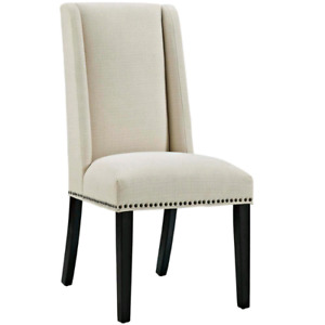 Modway Baron Beige Fabric Dining Chairs x2