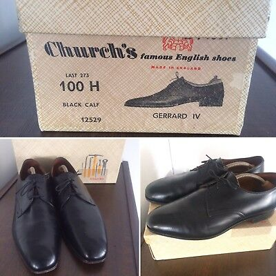 1960's Mens Churchs Black Calf Leather Lace Up Shoes Gerrard IV Orig Box Size 10